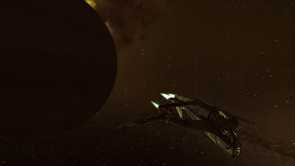 EvE Online: Darker sepia toned lighting due to an Incursion event