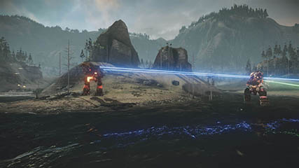 Mechwarrior Online: A Mech Takes Fire Whilst Crossing a River